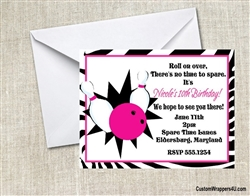 bowling birthday party invitation for a girl