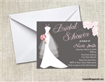 Bridal Shower Invitation - Chalkboard Gown 1