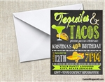 Tequila and Tacos Birthday Party Invitation