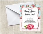Bridal Shower invitation flowers and stripes