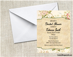 Bridal Shower invitation flowers kraft paper