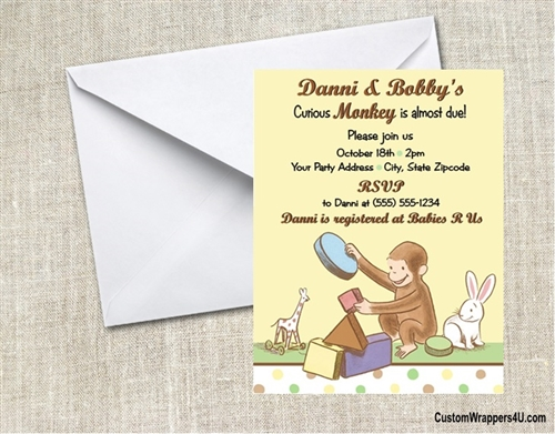 Baby shower invitation curious george 2 filmwisefo Image collections