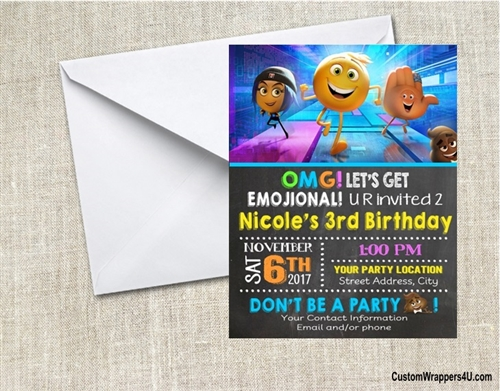 Emoji Movie Chalkboard Birthday Party Invitation