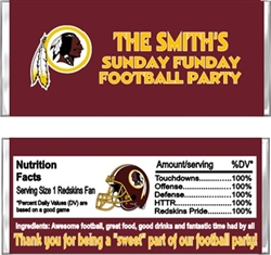 Washington Redskins Football Candy Wrapper Party Favor