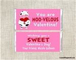Cow Valentine's Day Candy Wrapper Moo-Velous