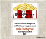 Teacher appreciation popcorn wrappers favors gifts