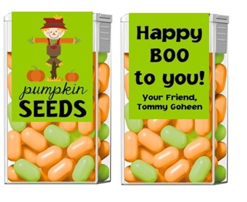 halloween tic tacs pumpkin seeds scarecrow and pumpkins