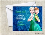 Frozen Fever Thank You Card Birthday Party Elsa and Anna