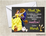 Beauty and the Beast Belle Chalkboard Thank You Card Birthday Party