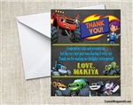 Blaze and the Monster Machines Chalkboard Thank You Card Birthday Party