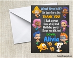 Bubble Guppies Chalkboard Thank You Card Birthday Party