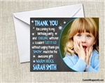 Frozen birthday thank you card with photo Chalkboard