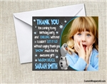 Frozen Olaf birthday thank you card with photo Chalkboard