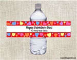 Heart Background Valentine's Day Water Bottle Label