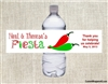Fiesta Water Bottle Label - Chili Peppers (Cinco de Mayo)