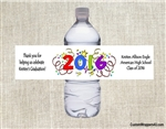 Graduation Water Bottle Label - Confetti & Year