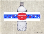 4th of July water bottle label