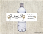Retirement Water Bottle Label - Silver & Gold Balloons