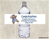 Graduation Water Bottle Label - Teddy Bear