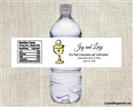 First Communion Water Bottle Label - Chalice & Wafer White Background