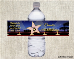 Birthday Water Bottle Label - Hollywood Star