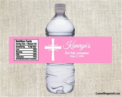 First Communion Water Bottle Label - Cross (background color can be changed)