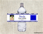 Graduation Water Bottle Label - Photo Picture Damask (colors can be changed)