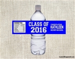 Graduation Water Bottle Label - Class Of (background color can be changed)