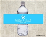 Wedding Water Bottle Label - Starfish (background color can be changed)