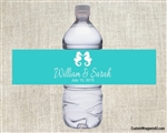 Wedding Water Bottle Label - Seahorse (background color can be changed)