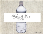 Wedding Water Bottle Label - Names (background color can be changed)