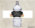 Wedding Water Bottle Label - Chalkboard and Flowers