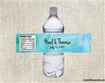 Wedding Water Bottle Label - Watercolor Blue