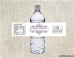 Wedding Water Bottle Label - Damask (border color can be changed)