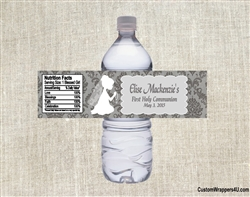 First Communion Water Bottle Label - Shadow Kneeling Damask