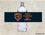 Chicago Bears Water Bottle Label Party Favor