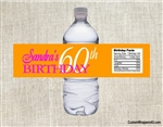 Adult birthday party water bottle labels