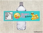 Emoji birthday party ideas, water bottle label