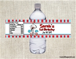 Dr. Seuss Cat in the Hat water bottle labels birthday party favors Thing One and Thing Two