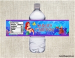 Little Mermaid Ariel water bottle labels birthday party favors