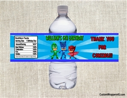 PJ Masks water bottle labels birthday party favors