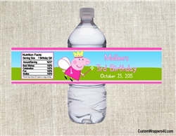 Peppa Pig Princess water bottle labels birthday party favors