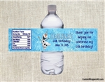 Frozen Olaf water bottle labels birthday party favors