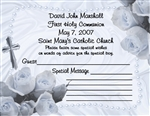 First Communion / Confirmation Wish Card - Rosary (blue, pink or yellow)