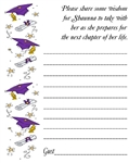 Graduation Wish Card - Cap, Diploma & Stars (colors can be changed)