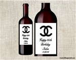 Chanel birthday party wine bottle label party favors