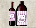 40 and Fabulous Chevron adult birthday party wine bottle label party favors