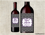 Damask adult birthday party wine bottle label party favors
