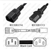1965 - StayOnline - IEC320 C14 Male Plug to C13 Connector 0.6 meters / 2 feet 15a/250v 14/3 SJT Black - Power Cord