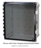 AH664C - ATTABOX - Heartland Polycarbonate Enclosure 6 x 6 x 4 inches with Clear Cover-Hinged,Latched,Padlockable